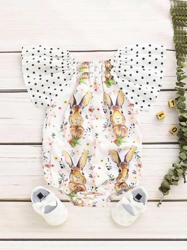 Baby Polka Dot Ruffle Sleeve Rabbit Print Romper