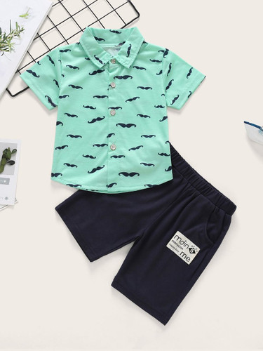Baby Mustache Print Curved Hem Shirt With Shorts