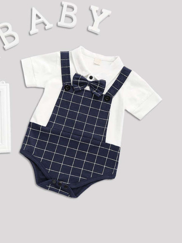 Baby 2 In 1 Bow Tie Plaid Jumpsuit
