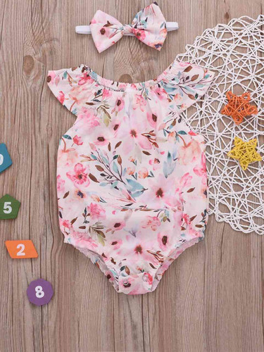 Baby Floral Print Popper Jumpsuit With Headband