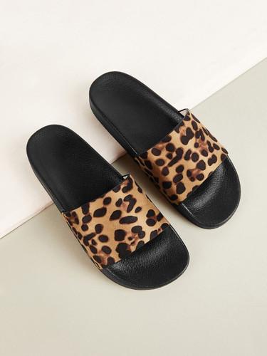 Leopard Print Open Toe Sliders