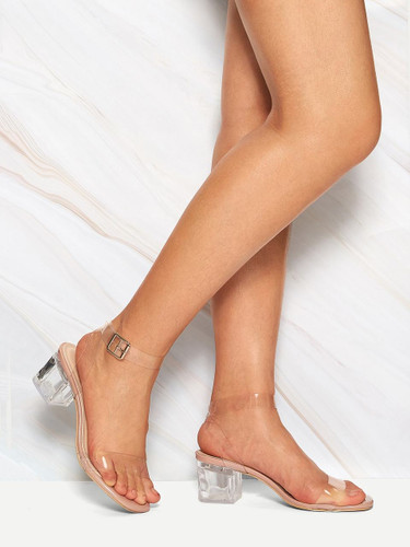 Transparent Ankle Strap Chunky Heels
