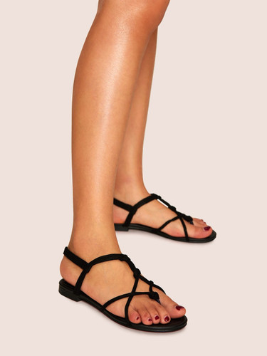Strappy Flat Sandals - Black