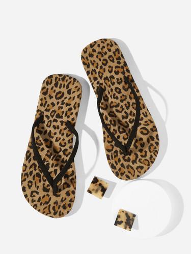Leopard Pattern Flip Flops