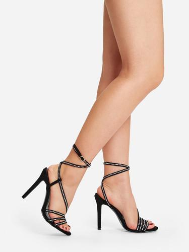Rhinestone Decor Criss Cross Stiletto Heels