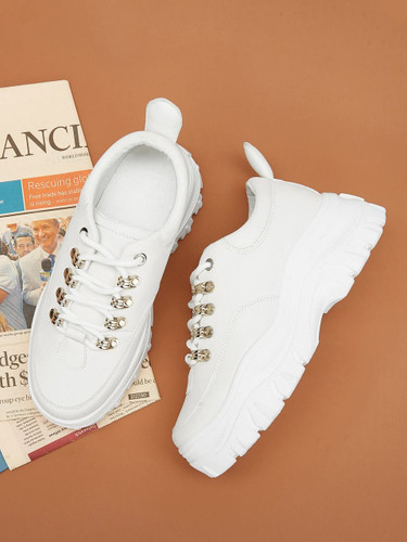 Plain Lace-up Chunky Trainers - White