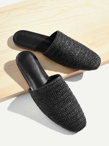 Plaited Wide Fit Flat Mules