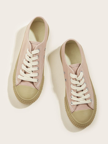 Lace-up Front Canvas Sneakers - Pink