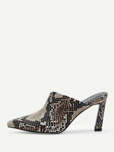 Snakeskin Pattern Heeled Mules