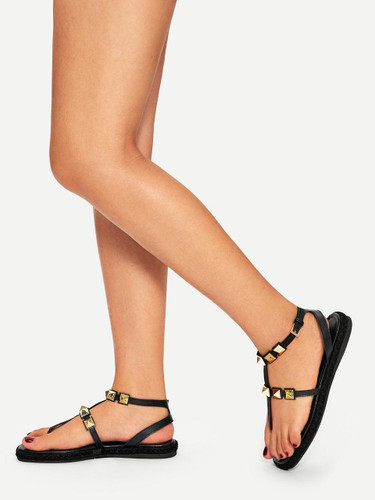 Studded Decor Flat Sandals