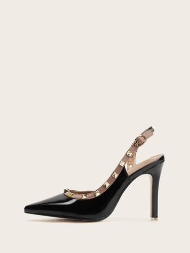 Studded Decor Point Toe Heels