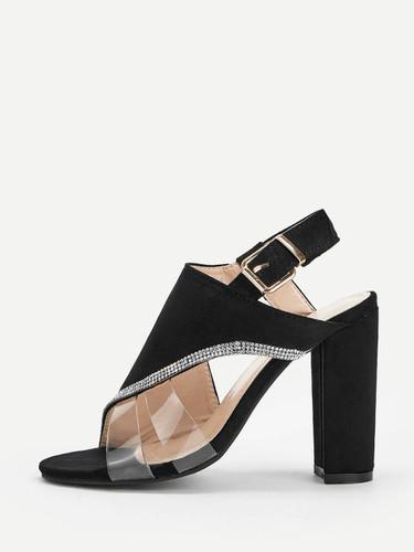 Rhinestone Detail Cut-out Slingback Heels
