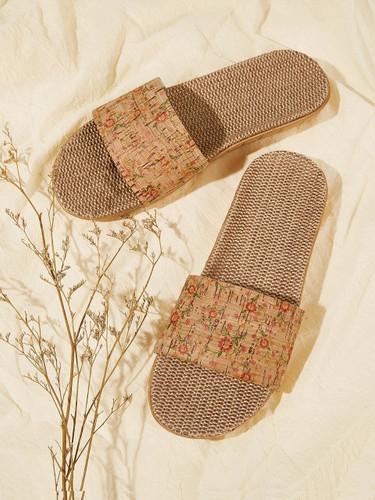 Floral Print Open Toe Sliders