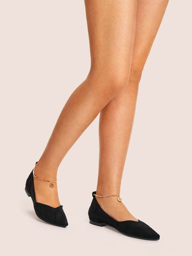 Chain Ankle Point Toe Flats