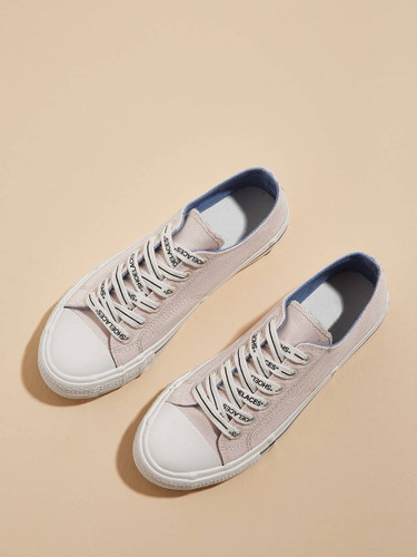 Lace-up Front Canvas Sneakers - 8cc9da8a