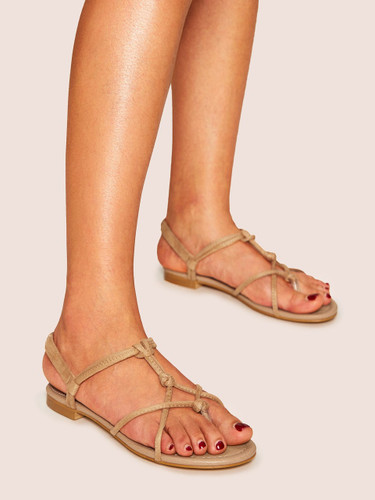 Strappy Flat Sandals - Apricot