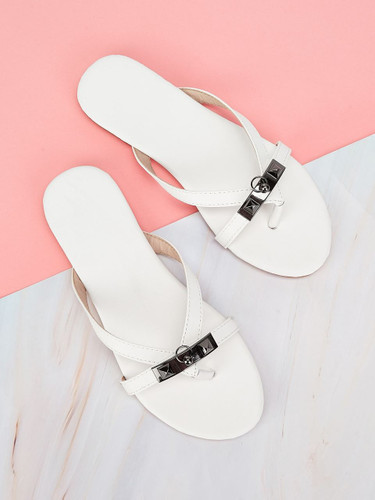 Criss Cross Flat Sandals - White