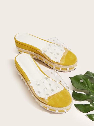 Transparent Studded Decor Slippers
