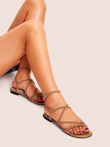 Plaited Strappy Flat Sandals