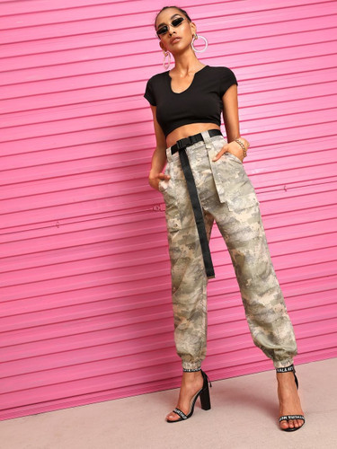 Camo Print Pocket Detail Pants With Belt