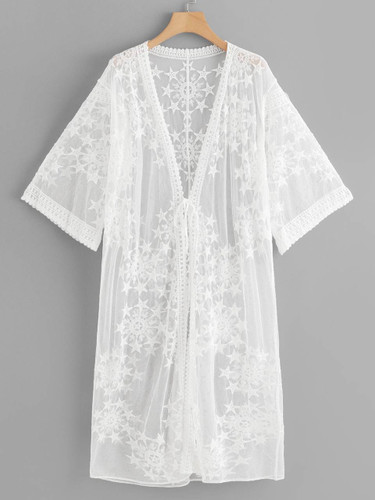 Lace Floral Embroidery Sheer Mesh Panel Kimono