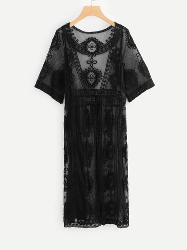 Embroidered Sheer Lace Kimono