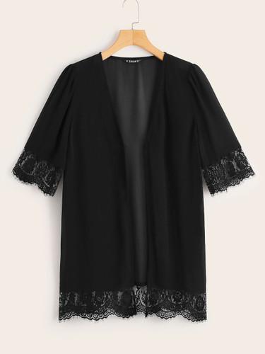 Eyelash Lace Trim Solid Kimono