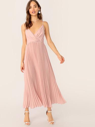Surplice Neck Pleated Cami Dress