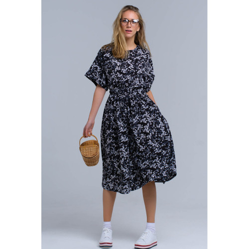 Black flower printed maxi dress