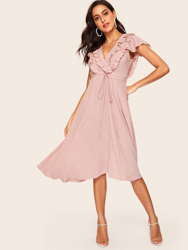 70s Ruffle Trim Belted Fit & Flare Dress