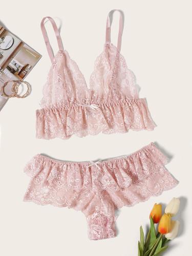 Floral Lace Lingerie Set - 1bb2453a