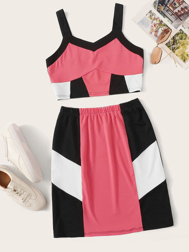 Color-block Crop Top With Skirt