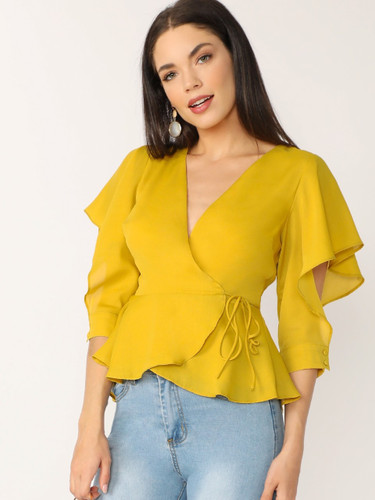 Flutter Cuffed Sleeve V-Neck Wrap Blouse