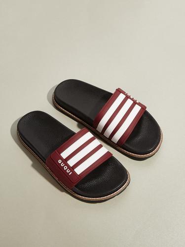 Men Striped Open Toe Sliders