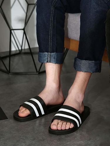Men Striped Detail Open Toe Sliders