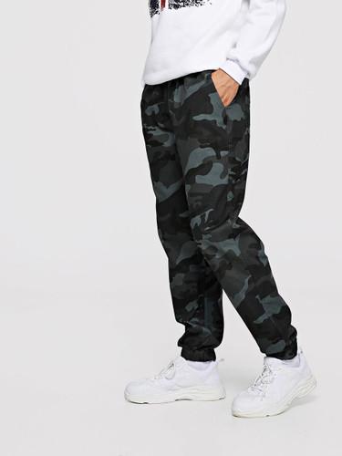 Men Camo Elastic Waist Pants