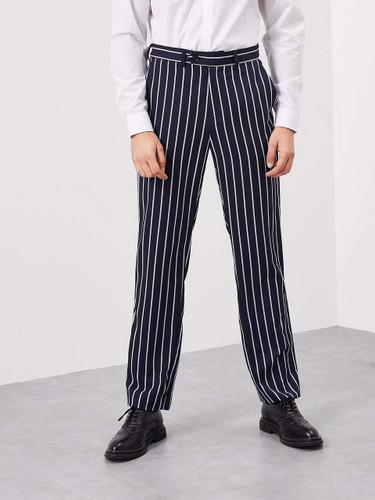Men Slant Pocket Striped Pants - Navy