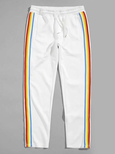 Men Rainbow Stripe Tape Side Sweatpants