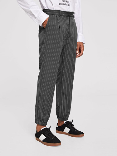 Men Slant Pocket Striped Pants - Grey