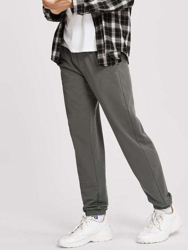 Men Elastic Waist Slant Pocket Pants