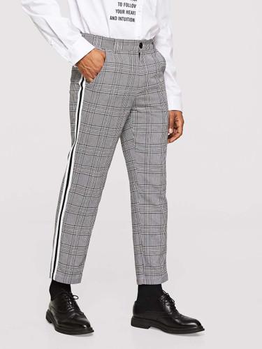 Men Striped Trim Glen Plaid Pants