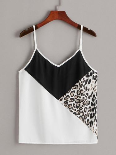 Leopard Print Colorblock Cami Top
