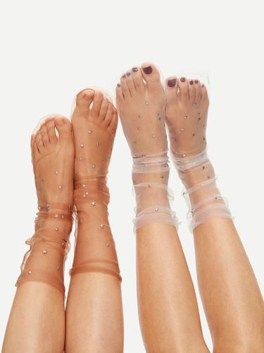 Star Decor Slouch Net Socks 2pairs
