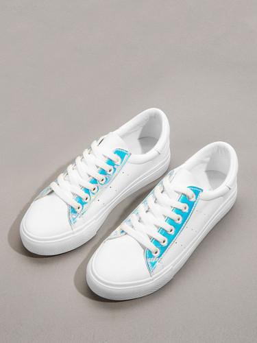 Iridescent Panel Low Top Sneakers
