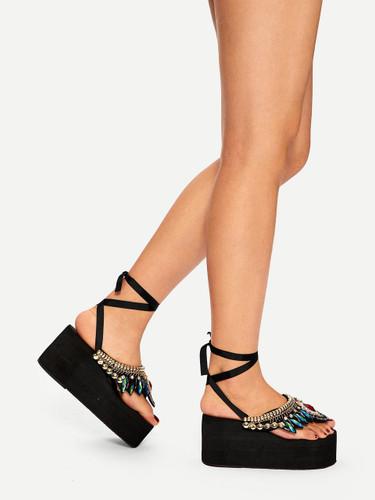 Rhinestone Decor Toe Post Wedge Sandals
