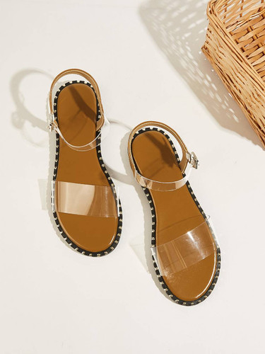 Two Part Transparent Flat Sandals