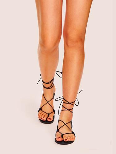 Toe Post Lace-up Flat Sandals