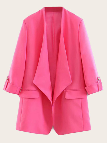 Waterfall Neck Roll-up Sleeve Solid Blazer