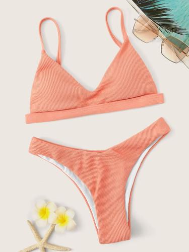 Ribbed Triangle Top With High Cut Bikini Set