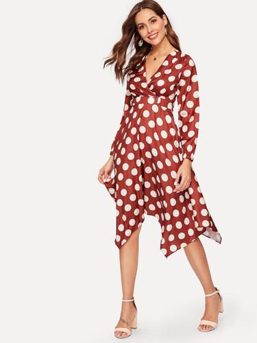 Polka Dot Asymmetric Hem Dress
